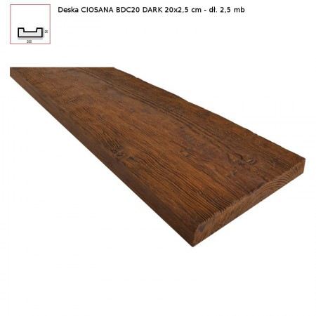 BDC20 DESKA  CIEMNY BRĄZ - 20 x 2,5 x 250 cm